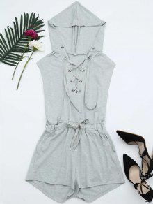 Lace Up Drawstring Hooded Romper - Light Gray L