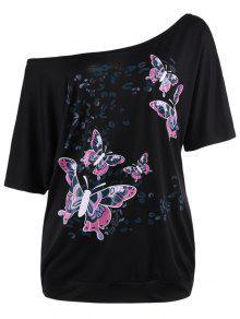توب الحجم الكبير طباعة الفراشة  - أسود 3xl