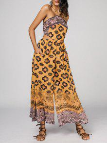 Halter Bohemian Printed Cut Out Wide Leg Jumpsuit - Yellow M