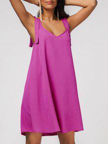 فستان مريح الشيفون سوينغ - وردة حمراء L