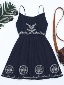 Mini Vestido Con Tirante Fino Con Patchwork - Azul Purpúreo