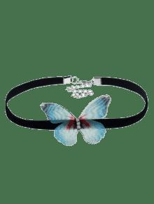 Embellished Butterfly Choker Necklace - Green