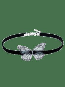 Embellished Butterfly Choker Necklace - Black
