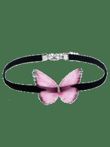 Embellished Butterfly Choker Necklace - Pink
