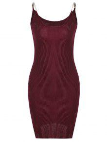 Buy Side Slit Ribbed Cami Knitted Dress - DEEP RED ONE SIZE