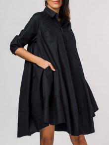 فستان شيرت فضفاض جانب الجيب - أسود