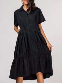 مطوي واحدة الصدر اللباس قميص - أسود