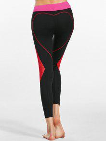 1920ad9a89e7a9 31% OFF] 2019 Heart Shaped Contrast Workout Leggings In BLACK | ZAFUL