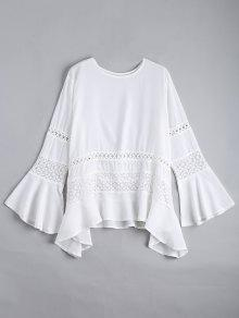 Hollow Out Flare Sleeve Asymmetric Blouse - White Xl