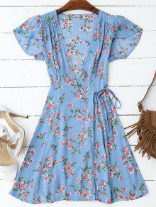 فستان كاب الأكمام لف مرسوم مصغر - أزرق Xl