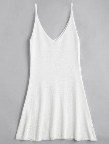 A فستان مصغر كامي بخط  - أبيض