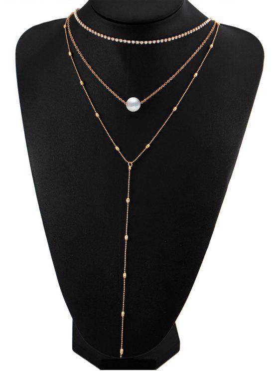 Collar de perlas de imitación de diamantes en capas - Dorado