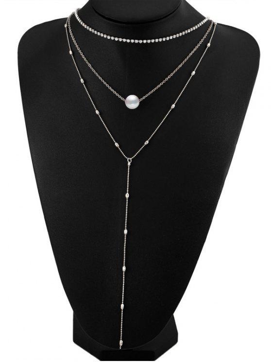Collar de perlas de imitación de diamantes en capas - Plata