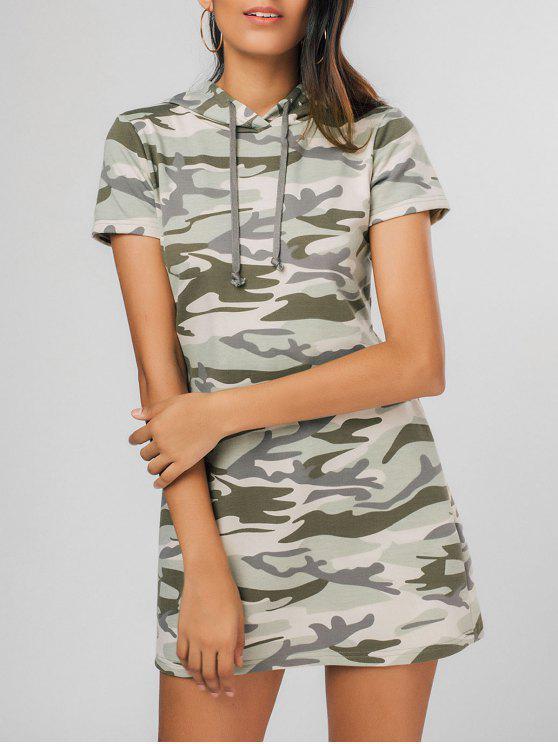 فستان مصغر مريح كامو مع غطاء الرأس - متعدد الألوان S