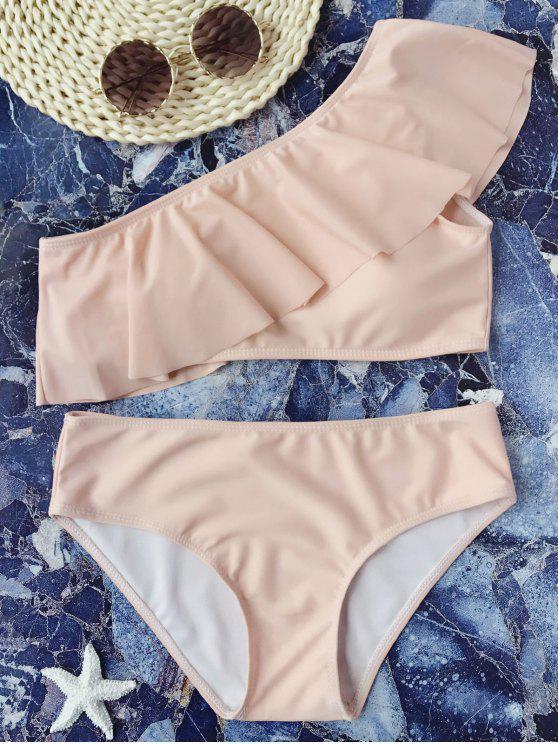 Gepolsterte Rüsche Ein Schulter Bikini Set - Pink L