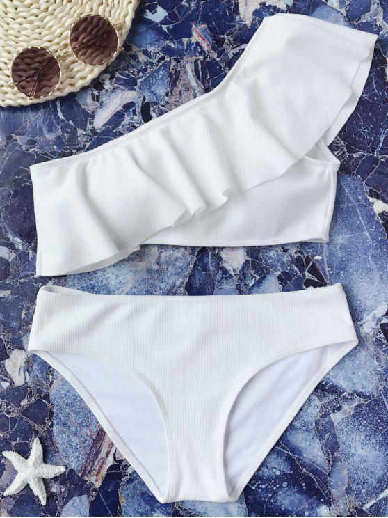 affordable Textured Ruffle One Shoulder Bikini Set - WHITE M