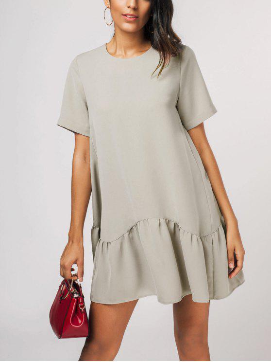 فستان كشكش الحاشية مصغر مستقيم - كاكي XL