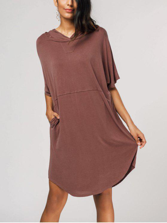 c578d23989 32% OFF] 2019 Oversized Pullover Midi Hoodie Dress In LATERITE | ZAFUL