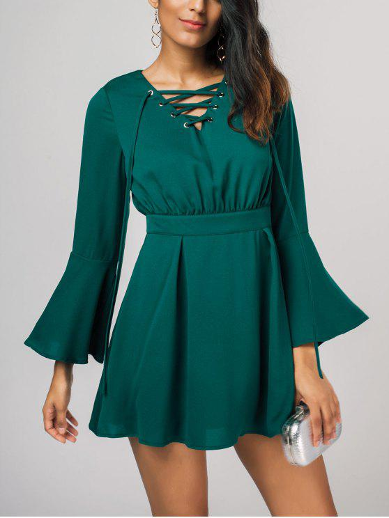 3c86a508d6cf 32% OFF  2019 Lace Up Bell Sleeve Skater Dress In GREEN