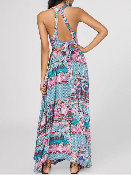 best Bowknot Tribal Cut Out Maxi Dress - MULTICOLOR L