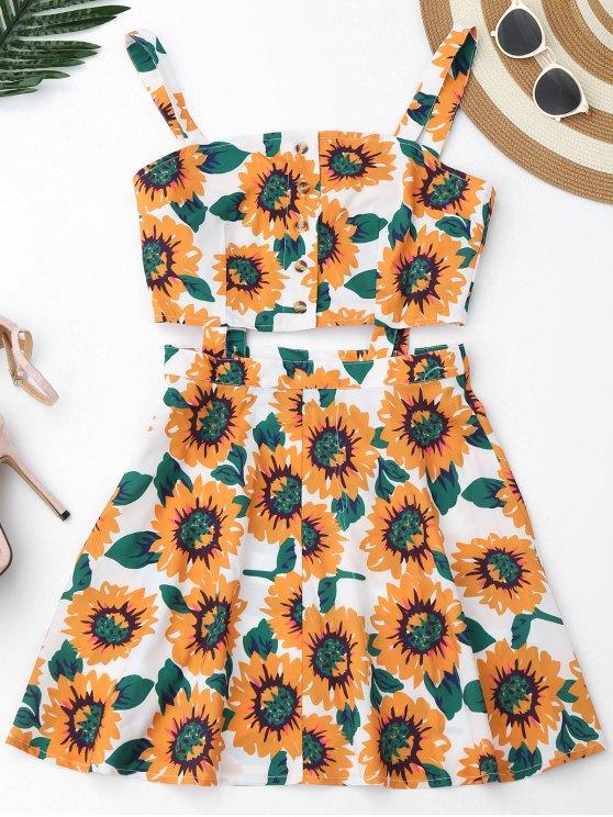 فستان زهري قطع زر مصغر - أبيض L