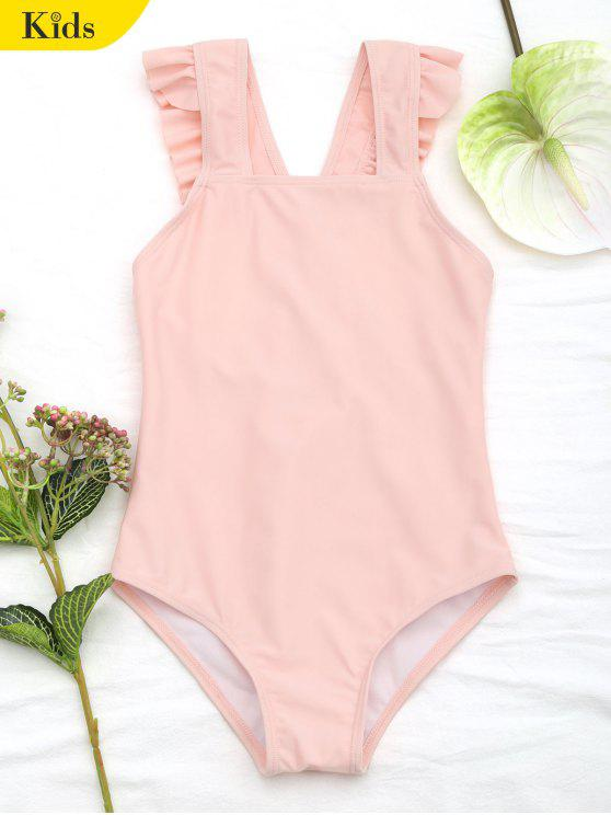 Maillot de bain col carré à volants - Orange Rose 6T