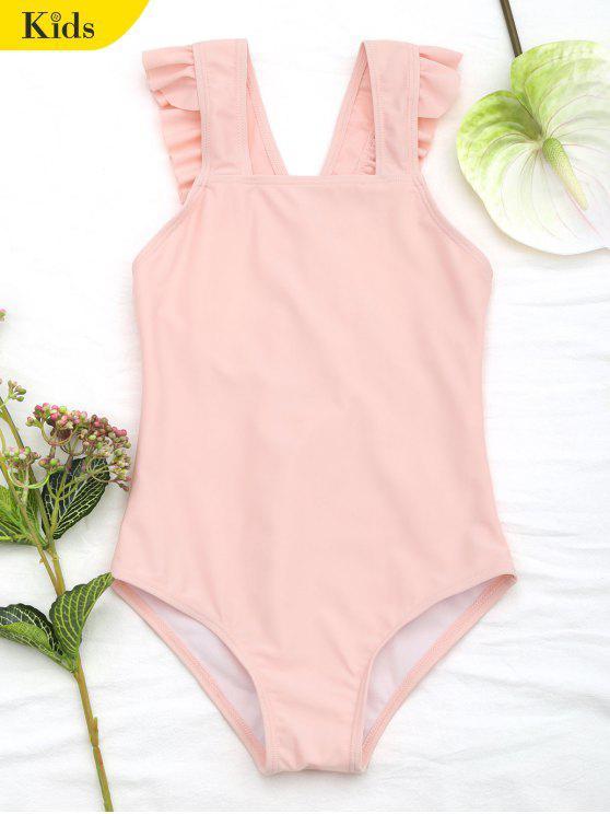 lady Square Neck Frilled Girls Swimwear - ORANGEPINK 7T