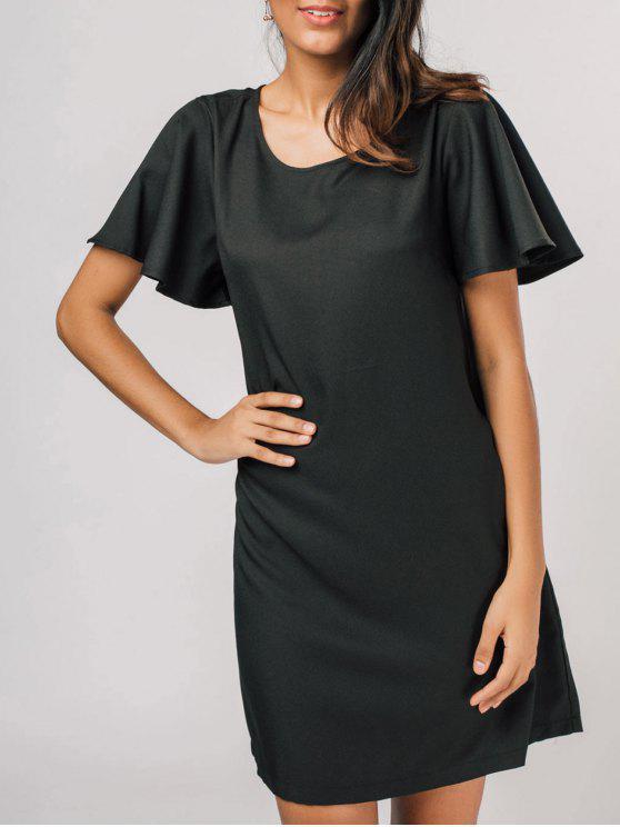 فستان مريح كشكش الأكمام مستقيم - أسود L