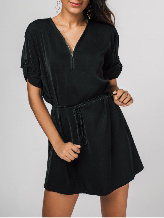 Vestido con cuello en V con cinturón - Negro S