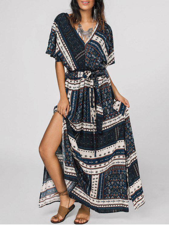 sale Belted Tribal Print Slit Maxi Dress - MULTI XL