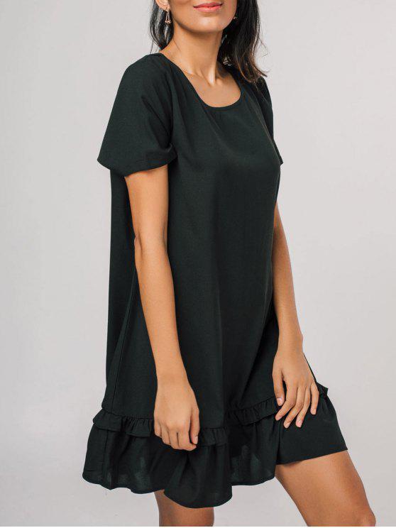 فستان قصيرة الأكمام كشكش مريح مصغر - أسود XL