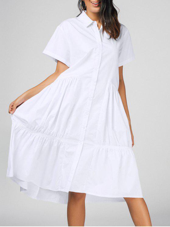 c8a0953ed العربية ZAFUL | أبيض فستان شيرت قصيرة الأكمام كشكش ميدي 2019 [27% OFF]