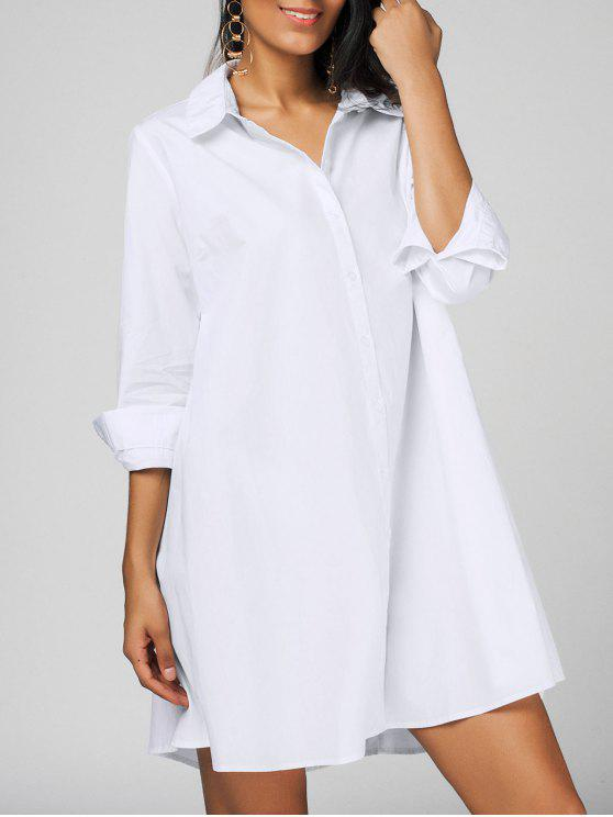 buy Casual Long Sleeve Shirt Dress - WHITE ONE SIZE