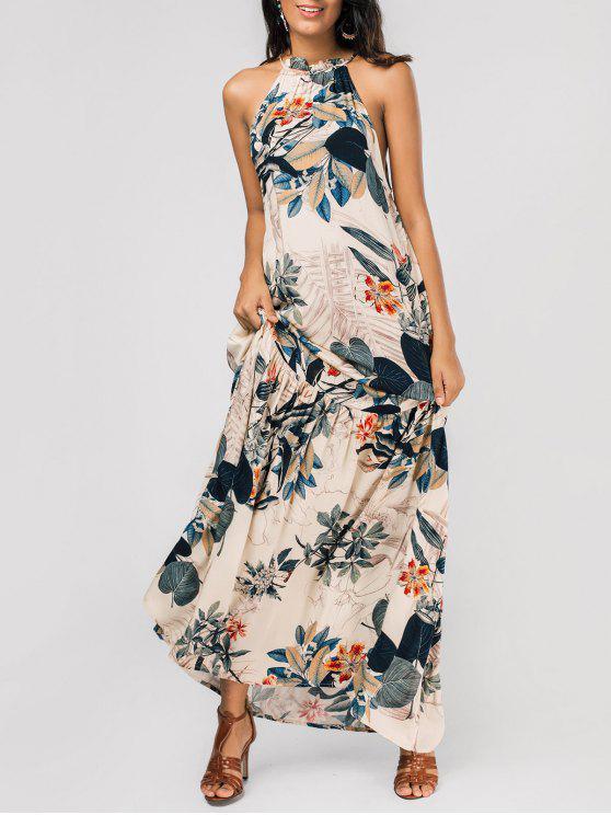 maxi robe à motif de feuilles à col halter sans manches - Floral M