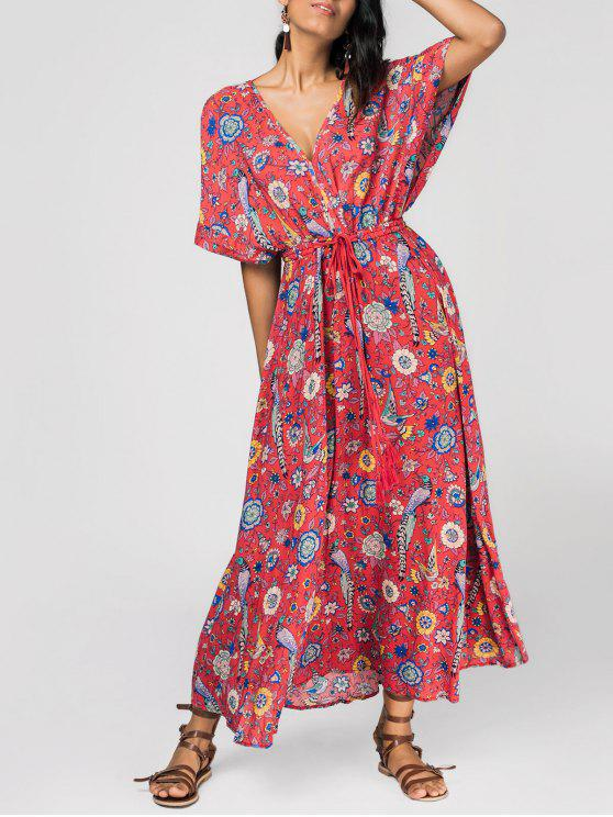 affordable Patterned Plunging Neck Tied Drawstring Maxi Dress - RED M