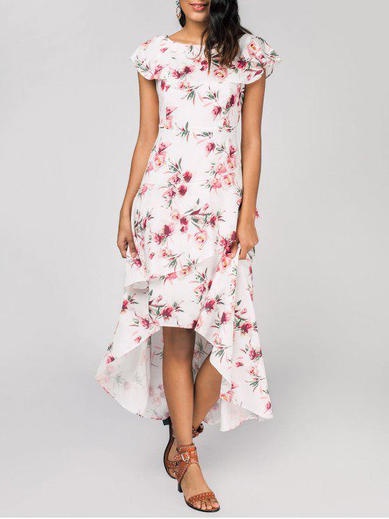 فستان الطبقات طباعة الأزهار عالية انخفاض ماكسي - أبيض M