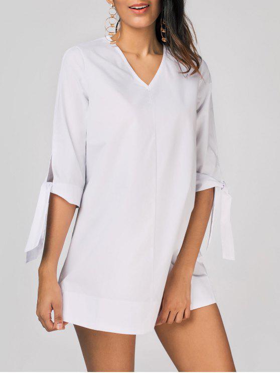 ladies Tied Sleeve V Neck Plain Dress - WHITE 2XL