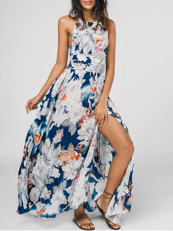 new Bowknot Floral Cut Out Maxi Dress - FLORAL S