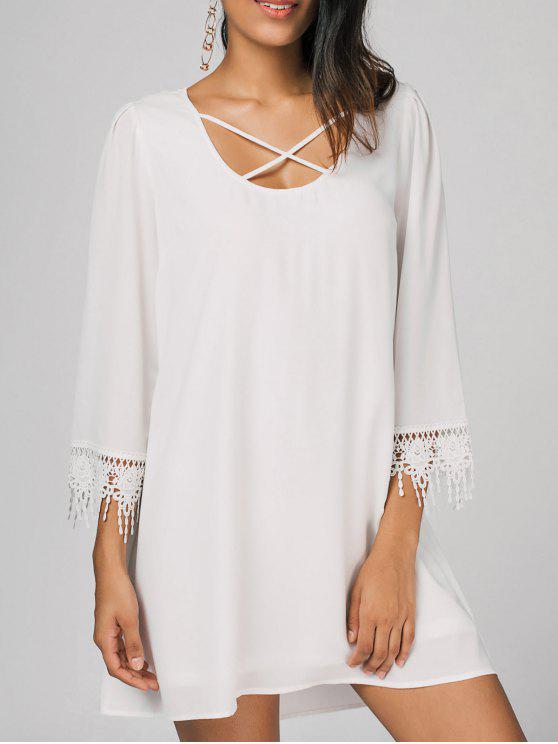 shop Criss Cross Crochet Panel Casual Dress - WHITE XL