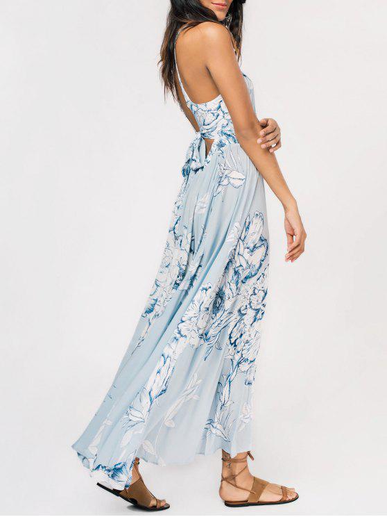 Maxi Vestido Ahuecado con Nudo en Espalda de Flores con Abertura Alta - Azul Claro L