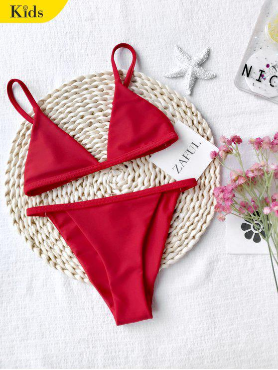 ladies Girls Kids String Bikini Set - RED 5T