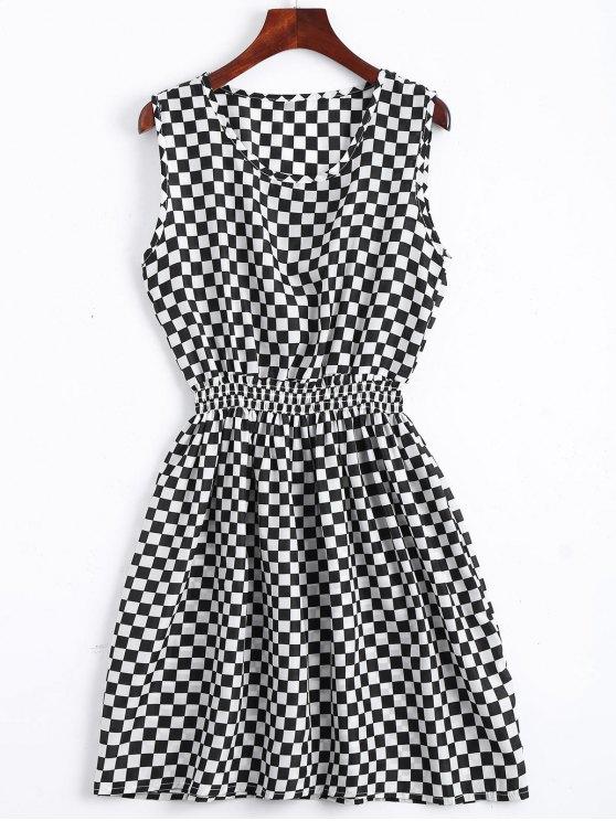 buy Smocked Panel Geometric A Line Mini Dress - WHITE S