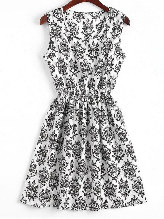 A فستان سموكيد لوحة مصغر بخط - أبيض L