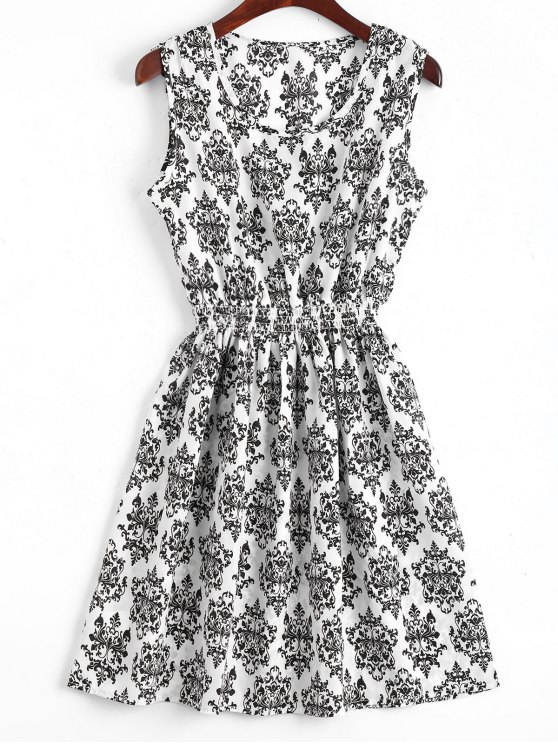 best Smocked Panel Snowflake A Line Mini Dress - WHITE S