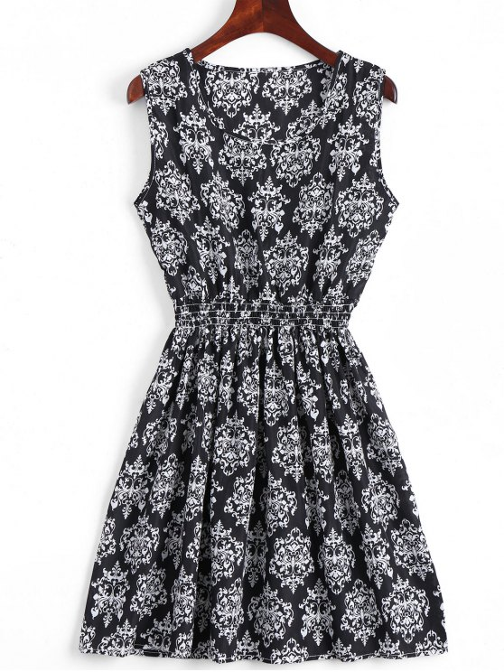 outfits Smocked Panel Snowflake A Line Mini Dress - BLACK S