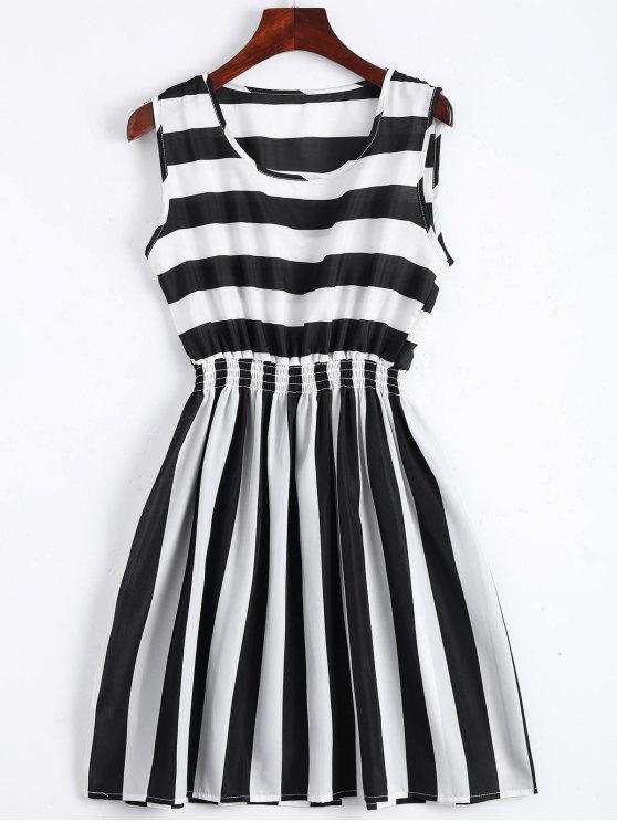 latest Smocked Panel Striped A Line Mini Dress - STRIPE L