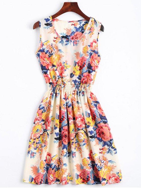 A فستان سموكيد الخصر طباعة الأزهار بخط - Orangepink S