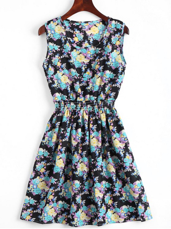 fashion Smocked Waist Floral A Line Dress - LAKE BLUE M