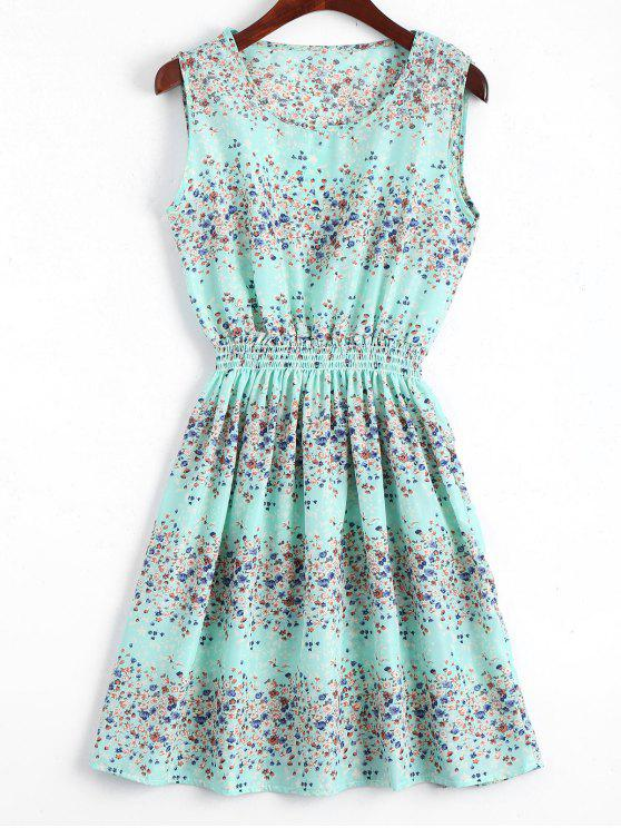 fancy Smocked Waist Floral A Line Dress - LIGHT BLUE L