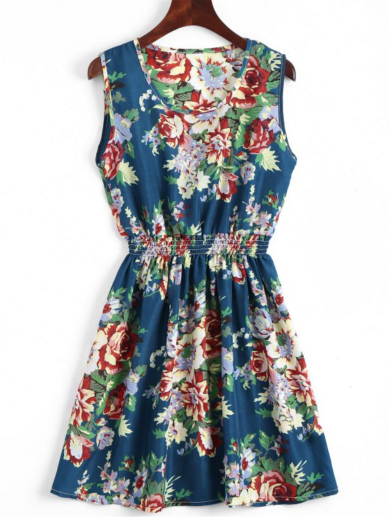 womens Smocked Waist Floral A Line Dress - BLUE S